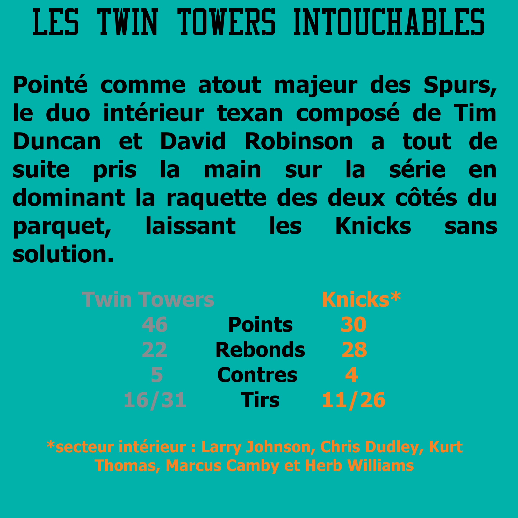 game 1 Spurs Knicks : Twin Towers